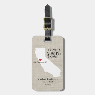 California State Love Home Sweet Home Custom Map Luggage Tag