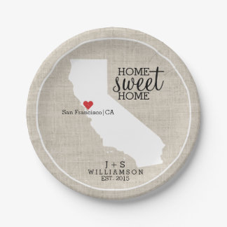 California State Love Home Sweet Home Custom Map Paper Plate