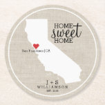 """California State Love Home Sweet Home Custom Map Round Paper Coaster<br><div class=""""desc"""">Show your California and hometown love with these fun paper coasters. A rustic chic design features a CA state map silhouette, &quot;Home Sweet Home&quot; typography, a red heart showing where you live, all set against a faux burlap/linen tan background. Customize the text with your family names, monogram, city location, year,...</div>"""