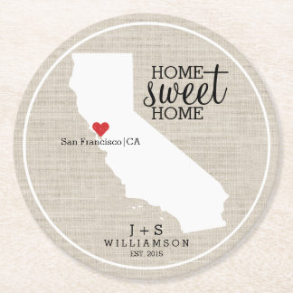 California State Love Home Sweet Home Custom Map Round Paper Coaster