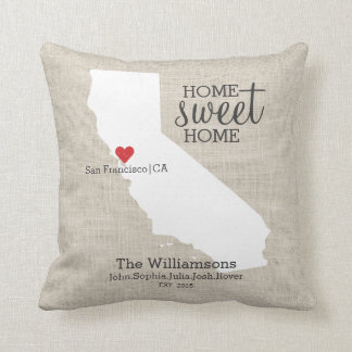 California State Love Home Sweet Home Custom Map Throw Pillow