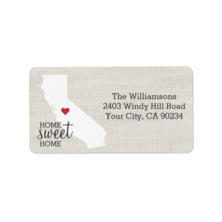 California State Love Map Home Sweet Home Custom Label