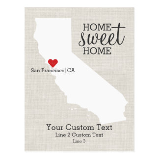 California State Love Map Home Sweet Home Custom Postcard