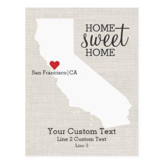 California State Love Map Home Sweet Home Custom Postcard
