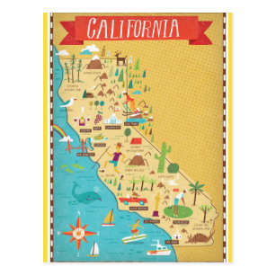 California State Map Postcard