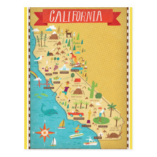 California Map Postcards Zazzle - Califonia map