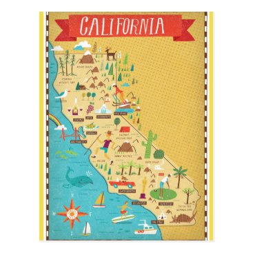 normagolden California State Map Postcard