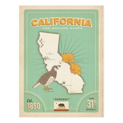 California State Map  The Golden State Postcard