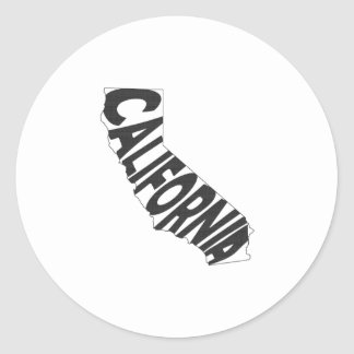 California State Name Word Art Black Classic Round Sticker