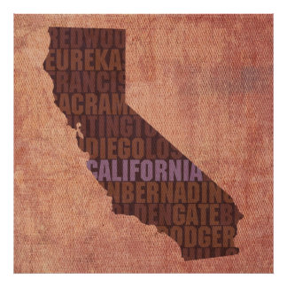 California State Outline Word Map on Canvas Poster