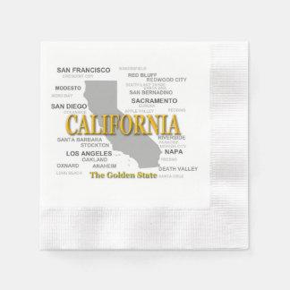 California State Pride Map Silhouette Paper Napkin