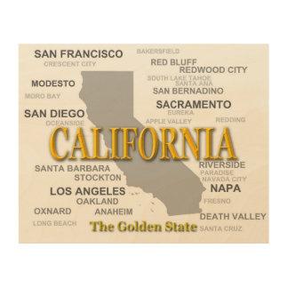 California State Pride Map Silhouette Wood Print