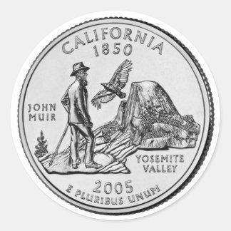 California State Quarter Classic Round Sticker