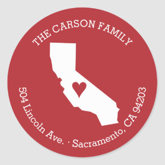 California State Return Address with Heart on City Classic Round Sticker