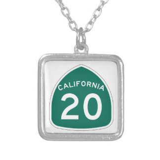 California State Route 20 Silver Plated Necklace