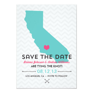 California State Save the Date  - Blue and Pink Card
