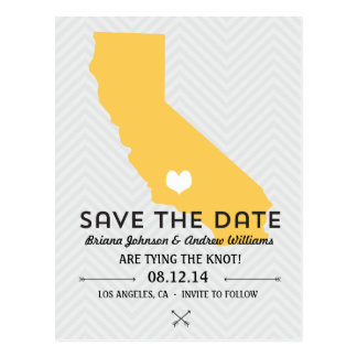 California State Save the Date - Golden Yellow Postcard