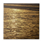 California Sunset Waves Abstract Nature Photograph Ceramic Tile