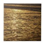 California Sunset Waves Abstract Nature Photograph Ceramic Tile