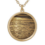 California Sunset Waves Abstract Nature Photograph Gold Plated Necklace