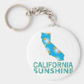 California Sunshine Basic Round Button Keychain