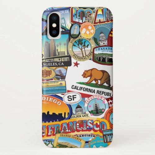 California Super Sticker Collage Pattern iPhone X Case