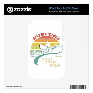 California surf illustration, t-shirt graphics decal for iPod touch 4G