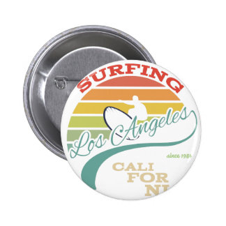 California surf illustration, t-shirt graphics pinback button