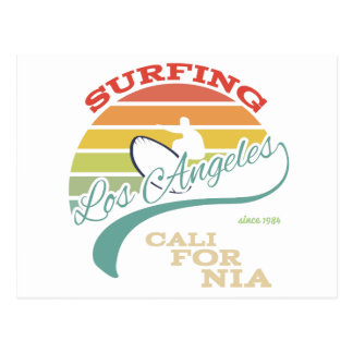 California surf illustration, t-shirt graphics postcard