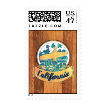 surfboard, california, vintage, sport, surf, cool, funny, old school, 60's, retro, wave, nostalgic, america, nostalgia, water, swag, fun, postage, stamp, Stamp with custom graphic design