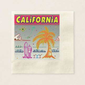 """CALIFORNIA"" Surfer Beach Napkins Coined Cocktail Napkin"