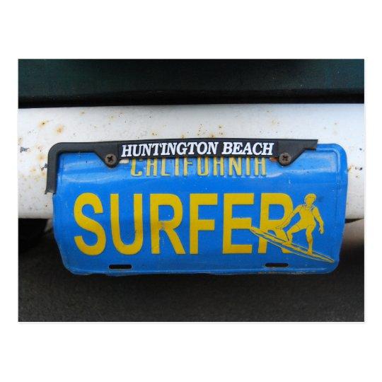 California Surfer License Plate Postcard