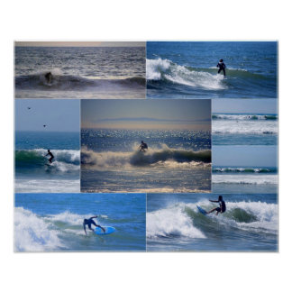 California Surfers Collage Poster