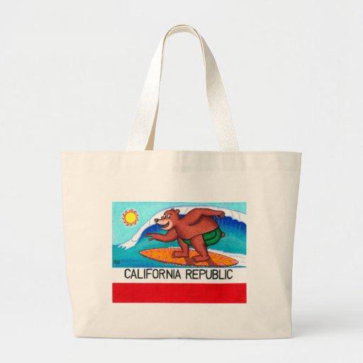 California Surfing Bear Flag Tote Bags