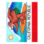 California Surfing Bear Flag Personalized Letterhead