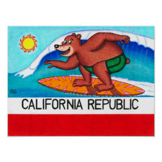 California Surfing Bear Flag Poster