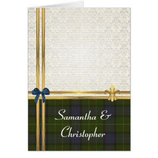 California tartan  & gold on  damask invitation