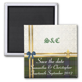 California tartan & gold on damask save the date magnet