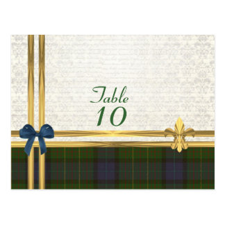 California  tartan on  white damask table number postcard