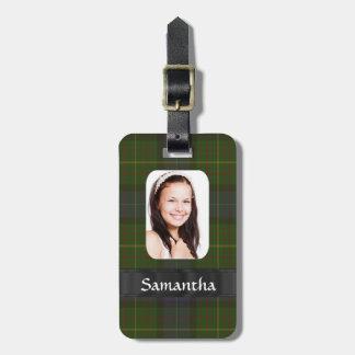 California tartan photo template travel bag tag