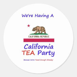 California TEA Party - We're Taxed Enough Already! Classic Round Sticker