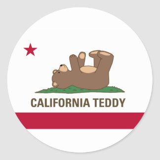 California Teddy Bear Flag Classic Round Sticker
