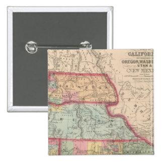 California, territorios de Oregon, Washington Pin Cuadrada 5 Cm