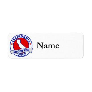 California Thad McCotter Custom Return Address Labels