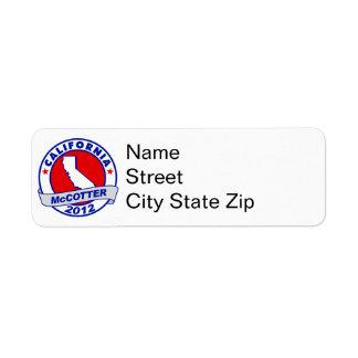 California Thad McCotter Return Address Labels