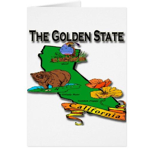 California The Golden State Bear Quail Poppy Card