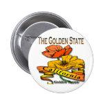 California The Golden State Golden Poppy 2 Inch Round Button