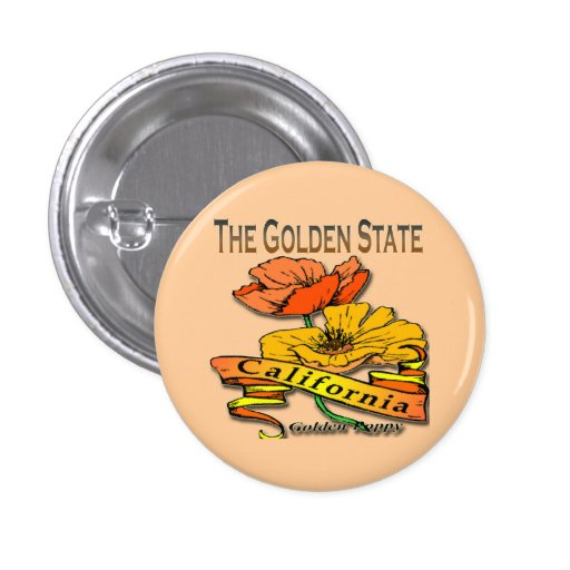 California The Golden State Golden Poppy 1 Inch Round Button
