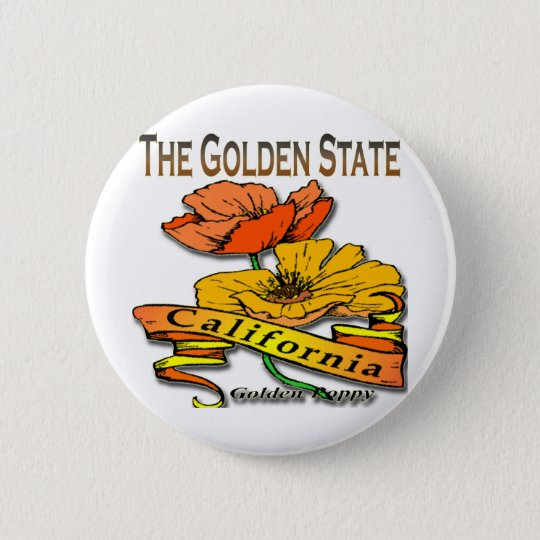 California The Golden State Golden Poppy Pinback Button