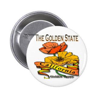 California The Golden State Golden Poppy Pinback Button
